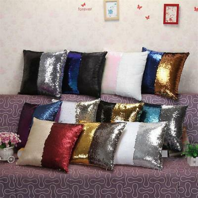 Sequin Glitter Mermaid Pillow Case Reversible Sofa Cushion Cover Ornament CB
