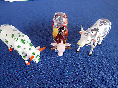 3 X Cowparade~7319 Lukcy Cow+ 6002 Babe In Toyland+ 6019 Tattooed Cow~2002+2004!