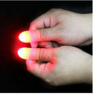 2Pcs Magic Super Bright Light Up Thumbs Fingers Trick Appearing Light Close Up x