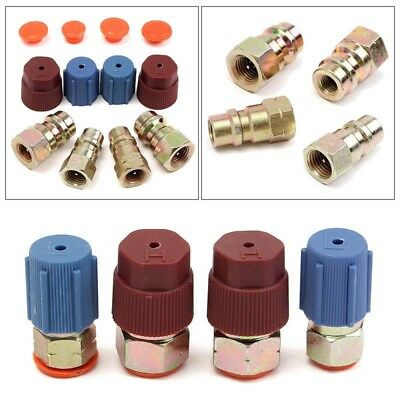 A/C R12 to R134a Low/High Side Retrofit Conversion Adapter Fitting Cap Valve Kit