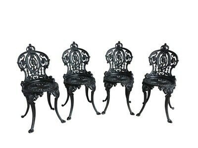 Set of 4 Vintage Cast Iron Garden Chairs - Reclaimed Outdoor - Painted - UKAA