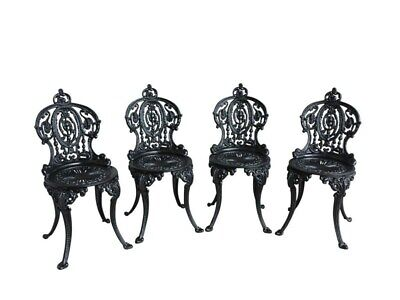 Set of 4 Vintage Cast Iron Garden Outdoor Chairs - Reclaimed