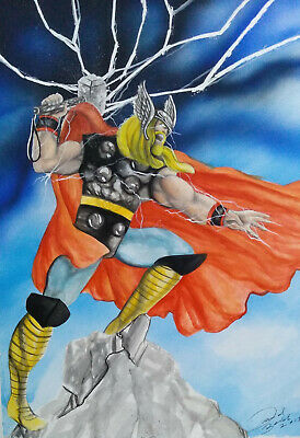 THOR  BY DAVID BALDO - ART PINUP Drawing Original
