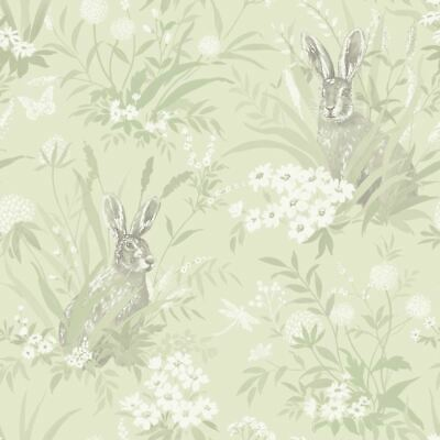 Floral Rabbits Holden Decor Whitcliffe Aayla Hares Taupe Wallpaper 90883