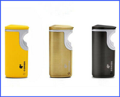 COHIBA Fashion windproof 3 Torch Jet Flame USB Recharge Cigar Lighter W/Punch