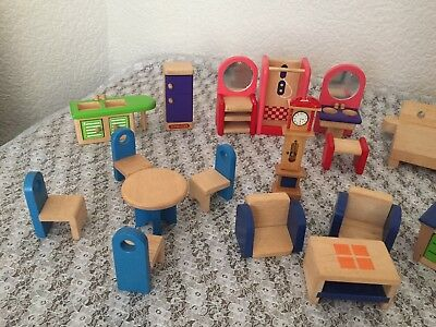 Early Learning Centre Wooden Dolls House Furniture Large Bundle