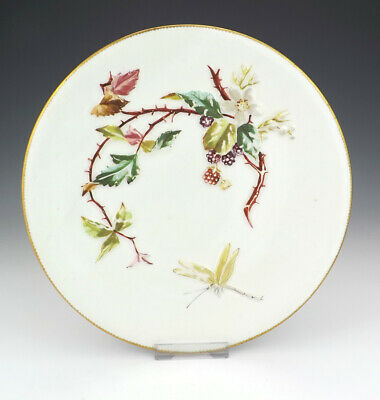 Antique Bodley Pottery Flower & Dragonfly Aesthetic Movement Plate - Nice!