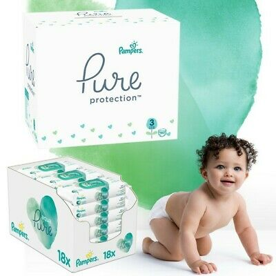 Pampers Pure Protection Monatspack: 180 St. Windeln Gr.3 + 864 St. Feuchttücher