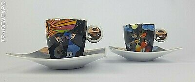 *RARE* ROSINA WACHTMEISTER FOR GOEBEL PORCELAIN CATS SET of 2 CUPS (>2000)
