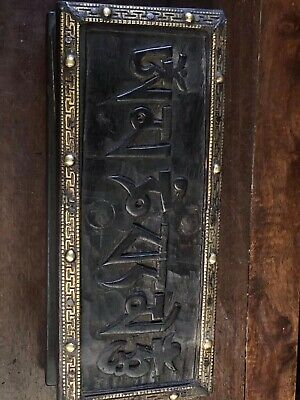 Chinese Antique Tibetan Buddhist hand-carved Buddha statue writing scripture