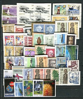 Faroe Islands Lot of 50 Stamps Old and Recent on Paper Kiloware