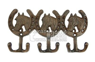 Horse Head Horseshoes Cast Iron Wall Hook Rustic Country Western Towel Keys G009