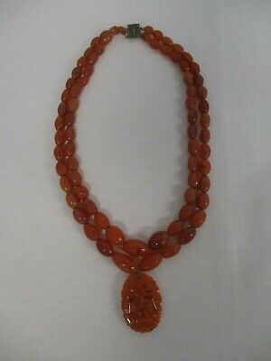 ANTIQUE CHINESE CARVED RED JADE JADITE BEAD NECKLACE w PENDANT & STERLING CLASP