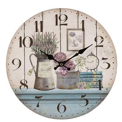 G1187: Romantic Country House Wall Clock with Lavender and Flowers Rustical