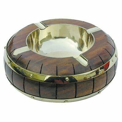 G4265: Maritime Ashtray, Ashtray in Fassdesign round, Brass Fine Wood