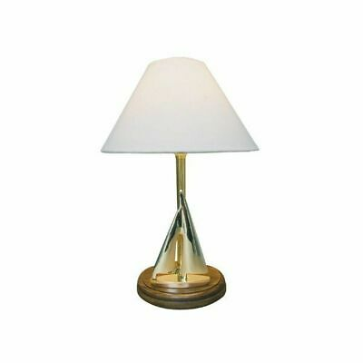 G4096: Sailing Yacht Lamp, Shade Lamp with Sailing Yacht, Table Lamp Brass 38 Cm