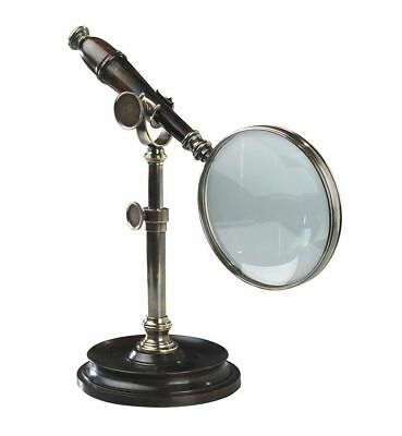 G458: Antique Magnifier with Tripod ,Old Brass, Magnifier in Early Days Style