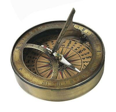 G491: Maritime Sundial Compass in Brass Solid and Burnished