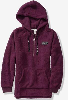 VICTORIAS SECRET PINK new COZY SHERPA HALF ZIP HOODIE PULLOVER LARGE deep  ruby 8e40d106e