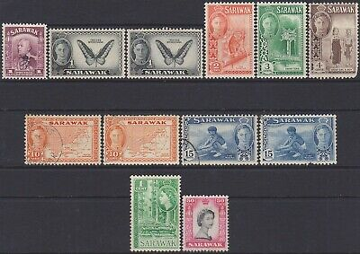 Sarawak KGVI & QEII 1947-1955 Definitive & Overprinted MH MNG & Used Stamps