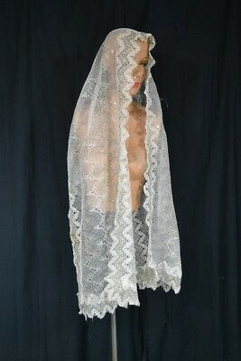 "antique shawl lace  mantilla scarf long  20 x 74"" white Victorian original 1800"