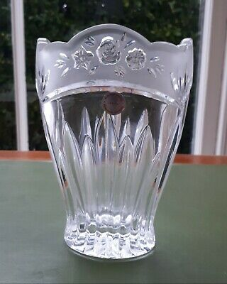 Estate German 24% Lead Cut Crystal Vase/ Bleikristall. Frosted Rose & Fluted
