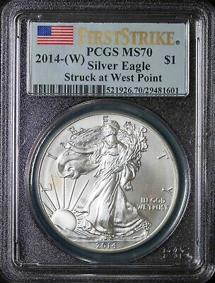 2014 (W) PCGS MS70 American Silver Eagle West Point Mint First Strike Item#J3906