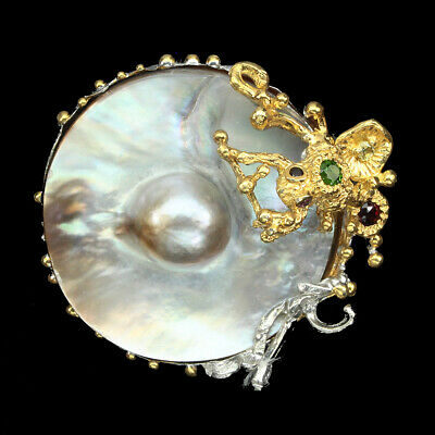 Handmade 31mm Maby Pearl Chrome Diopside Peridot Gems 925 Sterling Silver Brooch