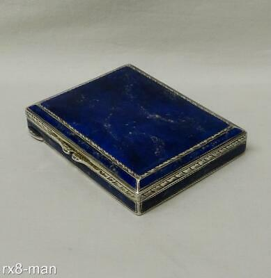 1930 Stunning Vintage Solid Sterling Silver & Blue Lapis Lazuli Inset Snuff Box