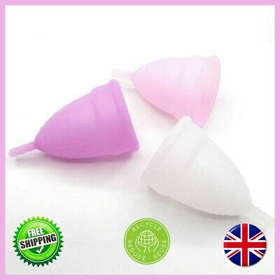 Menstrual Cup Reusable Silicon LARGE SMALL Female Hygiene 100%Medical Grade UK