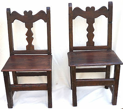 Antique Folk Art Pair Rustic Spanish Carved Wood Chairs Baluster Heart 17th C