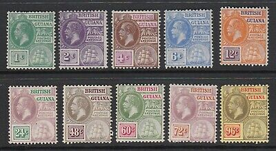 British Guiana 1921 to 96c MLH Script Watermark (Nov18)