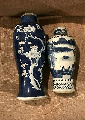 2 Old Chinese Blue & White Vases .