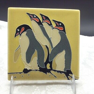 Motawi Tileworks A Family of Penguins Bird Figural Tile Animal Art Pottery