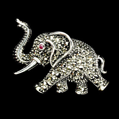 Round Cut 1.5mm  Top Red Pink Ruby Marcasite 925 Sterling Silver Elephant Brooch