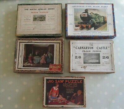 Collection / Job Lot Of 5 Vintage Incomplete Wooden Jigsaws Inc Delta / Beraton