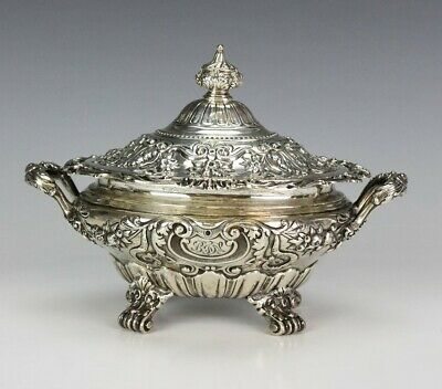 Antique Victorian Gorham Sterling Silver Ornate Floral Bow Scroll Foot Bowl LZO