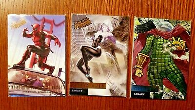 (3) 2017 Fleer Ultra Spiderman Cards Deadpool, Spider Gwen,Mysterio DA1 L12 L9