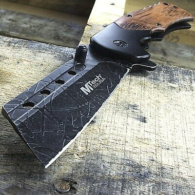 "8.25"" Mtech Usa Cleaver Style Wood Handle Spring Assisted Folding Pocket Knife"