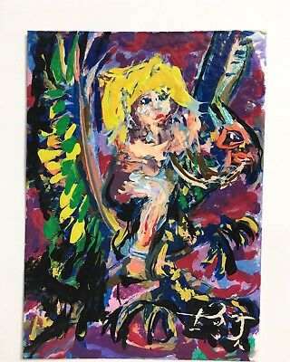 Original ACEO Painting Woman Fairy On Bird Griffin Fantasy Abstract Art By B.J.