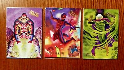 (3) 2017 Fleer Ultra Spiderman Cards Shocker, Spider-Man 2099, Mysterio 87 84 83