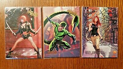 (3) 2017 Fleer Ultra Spiderman Cards Bloody Mary, Scorpion, Mary Jane 3 9 10