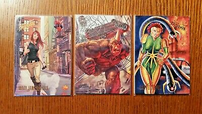 (3) 2017 Fleer Ultra Spiderman Cards Mary Jane, Rhino, Lady Octopus 10 28 30