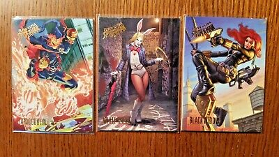 (3) 2017 Fleer Ultra Spiderman Cards Demogoblin, White Rabbit,Blk Widow 53 59 54