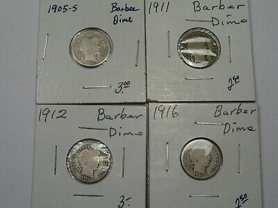 4 US Barber Dimes: 1905-s, 1911, 1912 & 1916.  #24