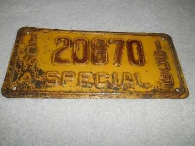"1939  Old  Vintage   Iowa   "" Special ""  License  Plate  20870"