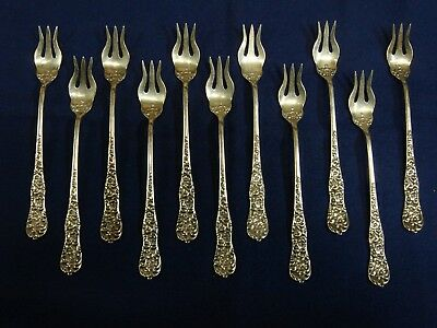 11 Dominick & Haff Sterling Silver Rococo Pattern Cocktail Forks 5.69 oz