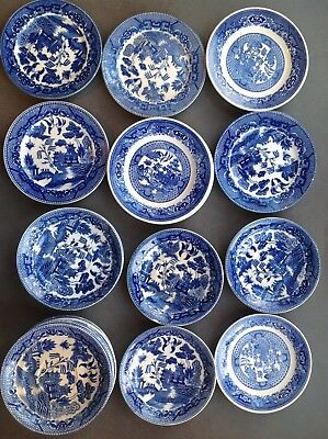 BLUE WILLOW dessert/bread plates; coffee cup saucers - HUGE variety - LOOK