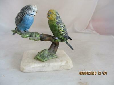 Old Cold Cast Bronze 'budgies' Group On Stone