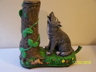 Wolf and Squirrel collector's Cast iron Mechaical Coin Bank